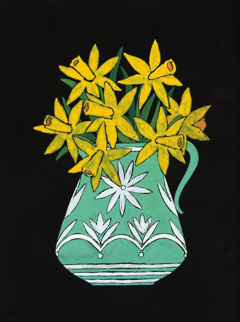 Daffodils in A Green Vase