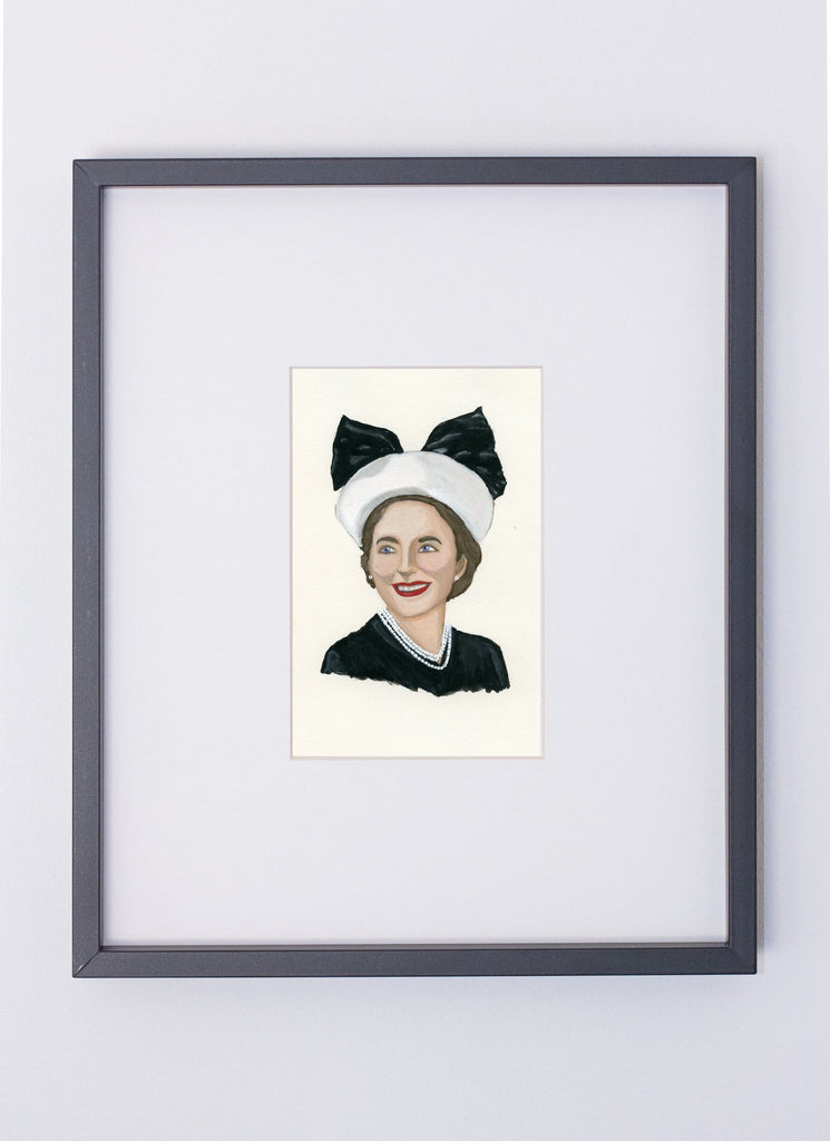 Dorothy Draper portrait in gouache by Liz Langley framed in black frame