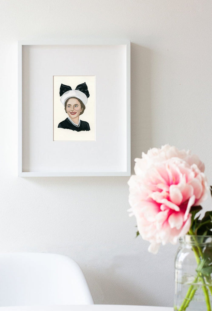 Dorothy Draper portrait in gouache by Liz Langley framed in white frame