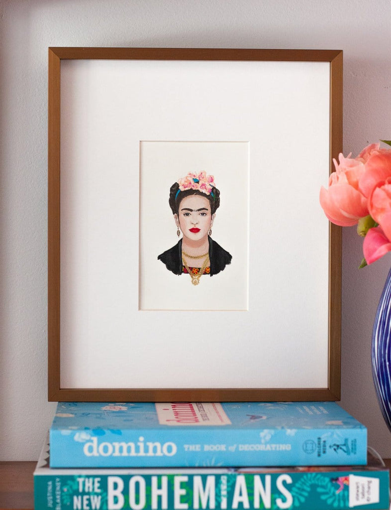 Frida Kahlo portrait in gouache by Liz Langley framed in antique gold frame