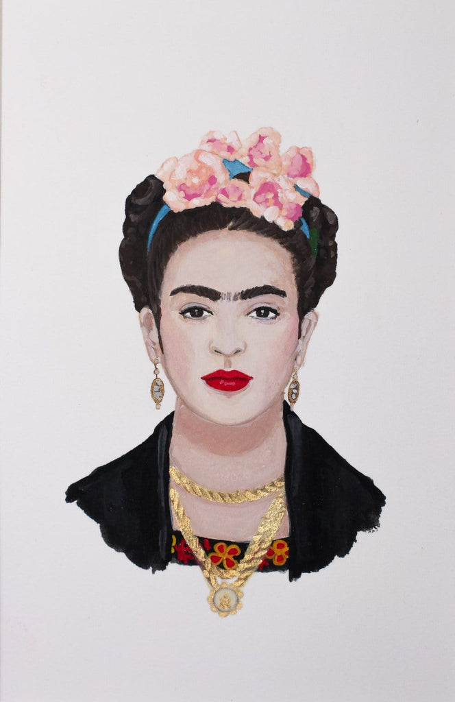 Frida Kahlo portrait in gouache by Liz Langley