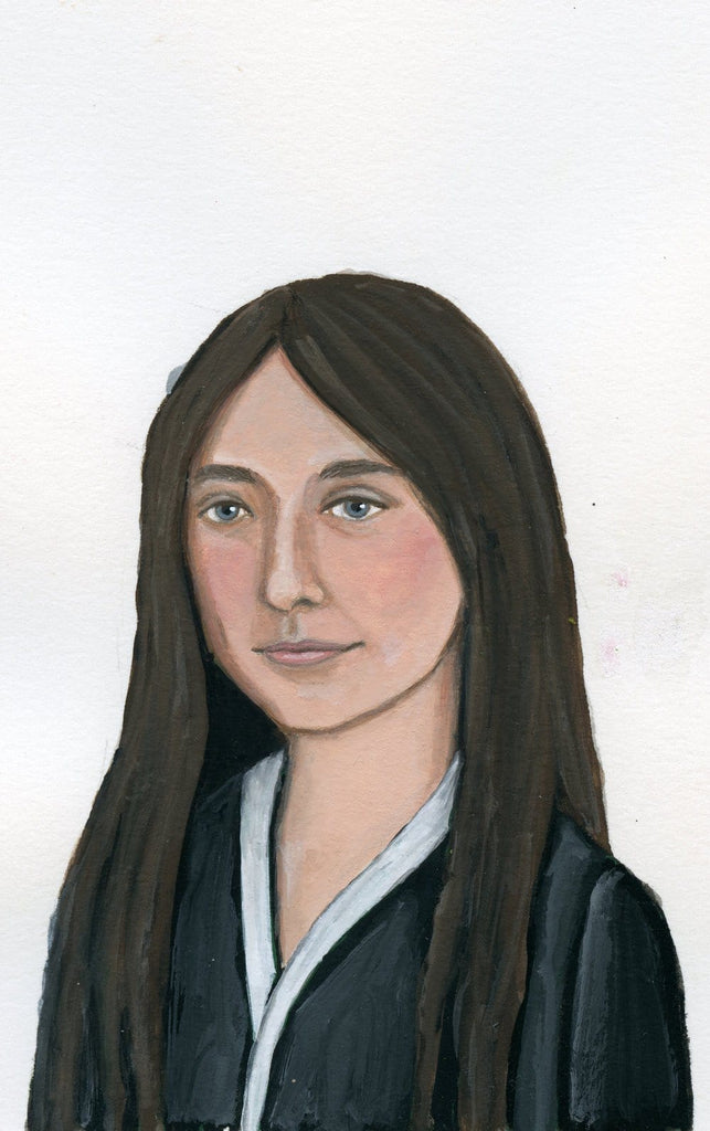 Georgia O'Keeffe portrait in gouache by Liz Langley