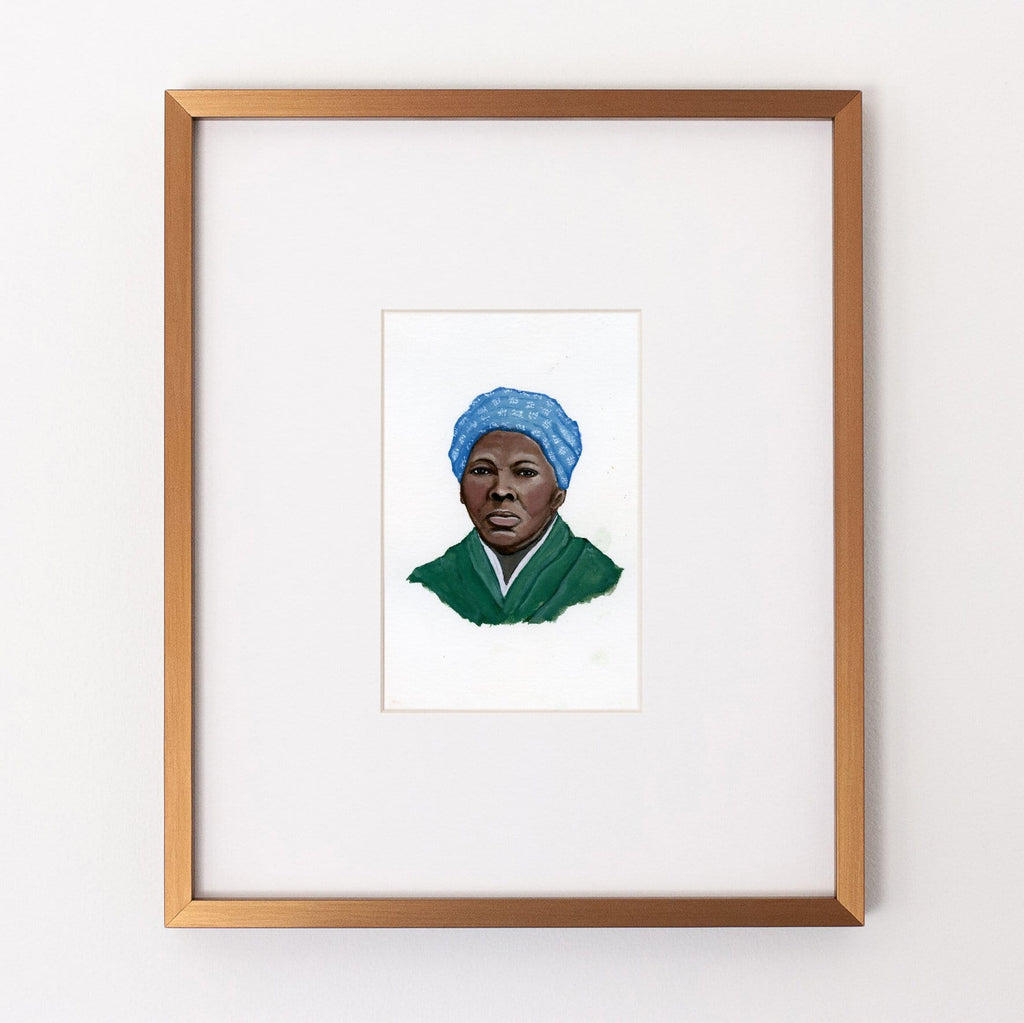 Harriet Tubman portrait in gouache by Liz Langley framed in antique gold frame