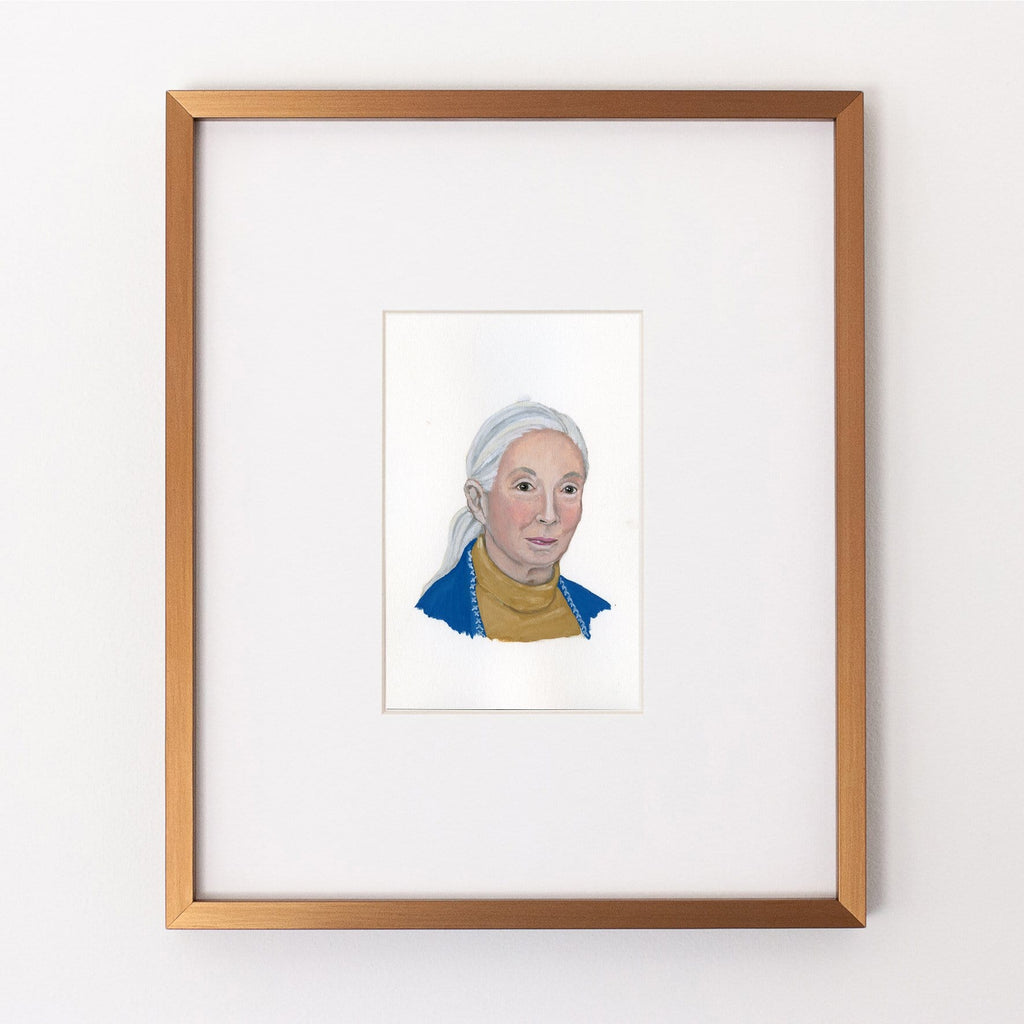 Jane Goodall portrait in gouache by Liz Langley framed in antique gold frame
