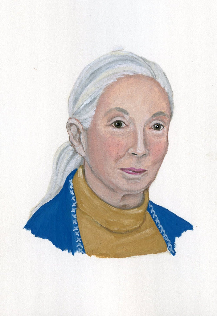 Jane Goodall portrait in gouache by Liz Langley