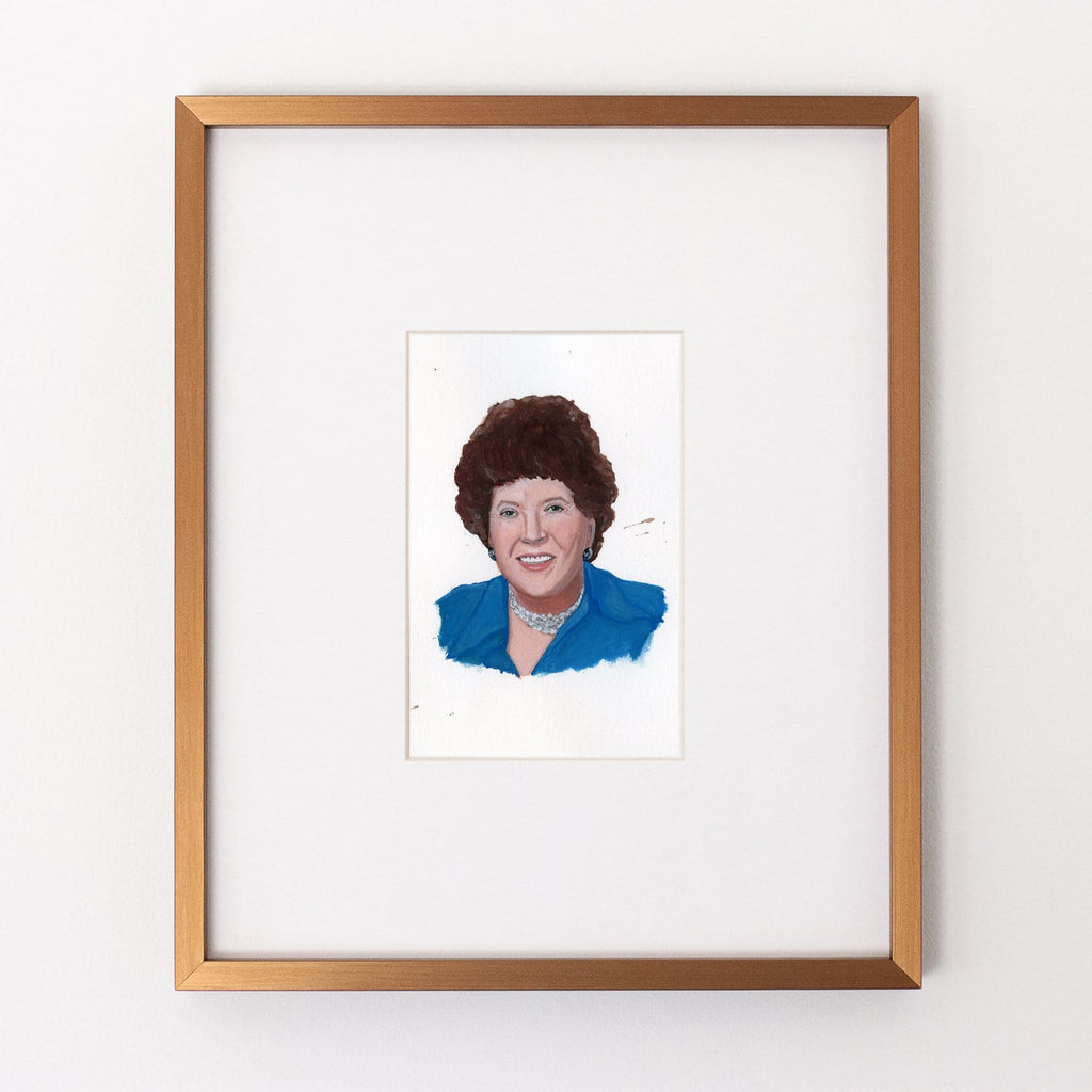 Julia Child portrait in gouache by Liz Langley framed in antique gold frame