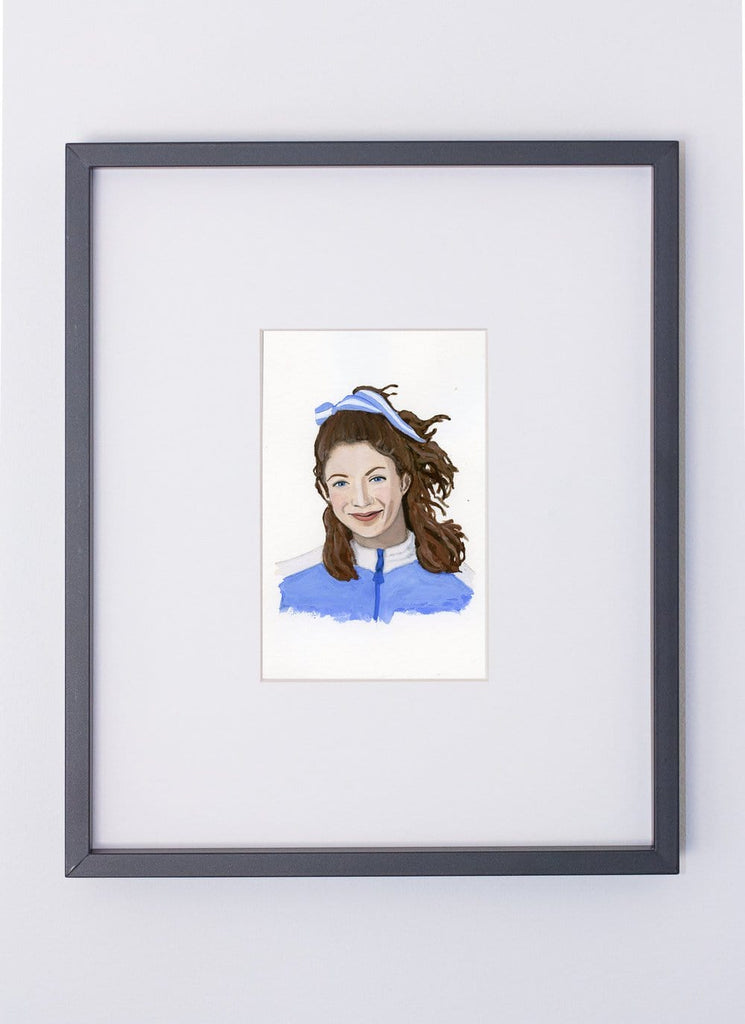 Kathrine Switzer portrait in gouache by Liz Langley framed in black frame