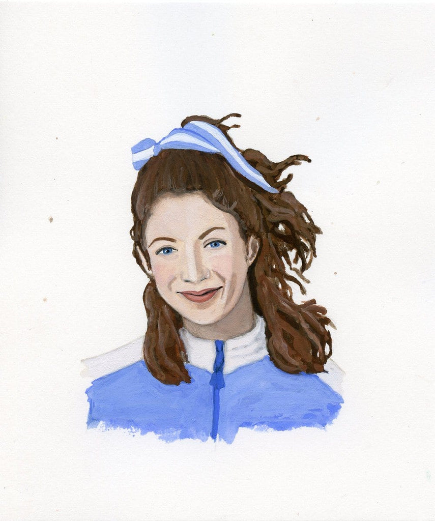 Kathrine Switzer portrait in gouache by Liz Langley