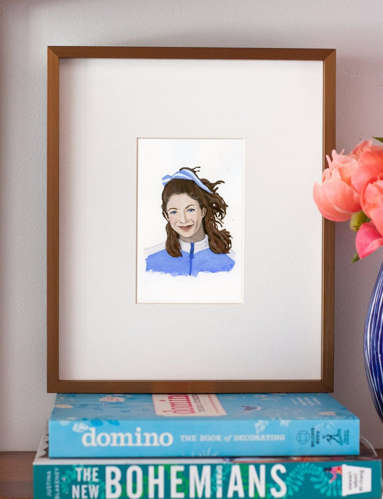Kathrine Switzer portrait in gouache by Liz Langley framed in antique gold frame