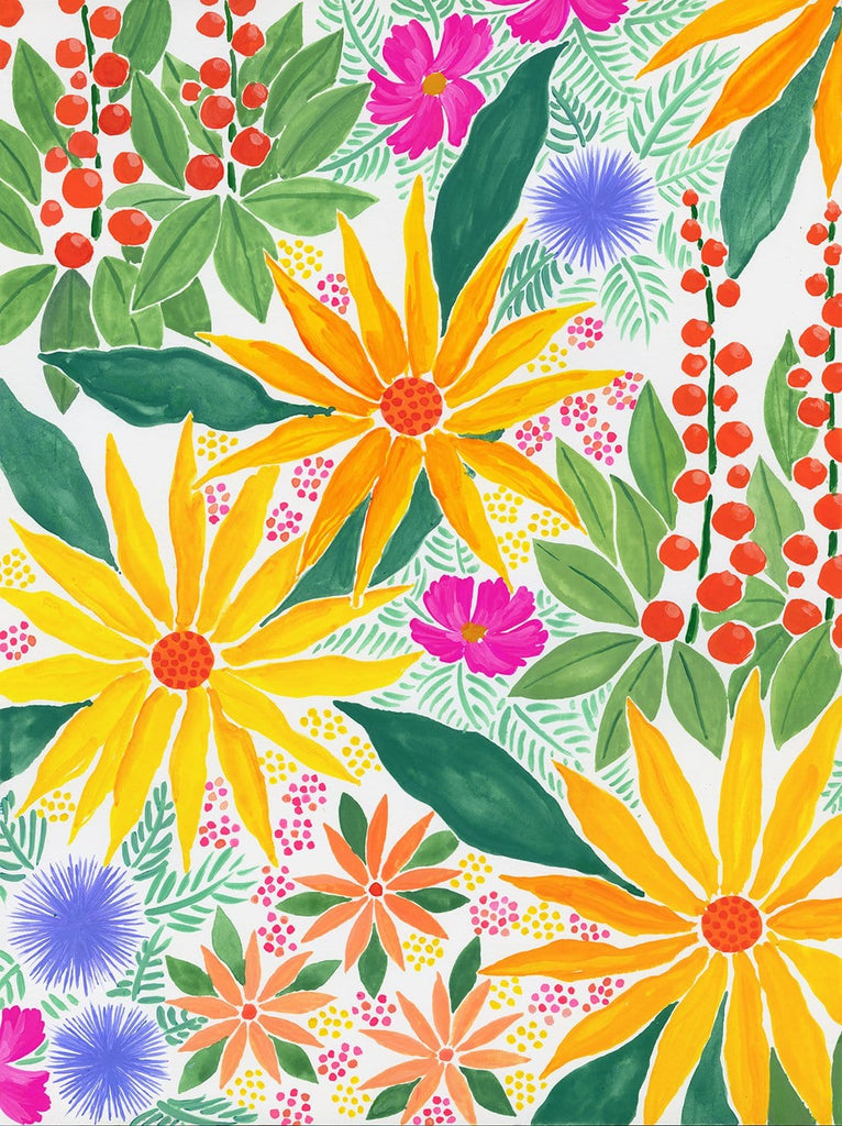 Bright & colorful floral painting in gouache on Arches cotton paper. The floral pattern of sunflowers, styized lupine and other cheery wildflowers in yellow, red-orange, pink and periwinkle blue fills the entire painting and continues off the edges.