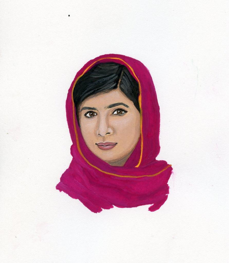 Malala Yousafzai portrait in gouache by Liz Langley