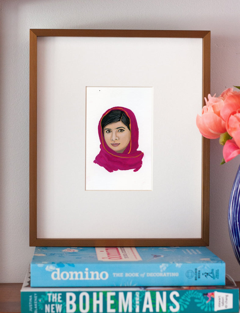 Malala Yousafzai portrait in gouache by Liz Langley framed in antique gold frame