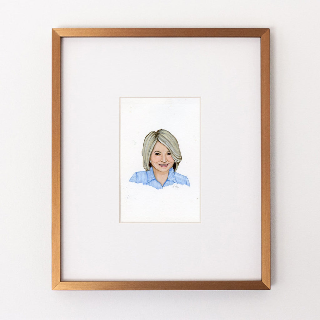 Martha Stewart portrait in gouache by Liz Langley framed in antique gold frame