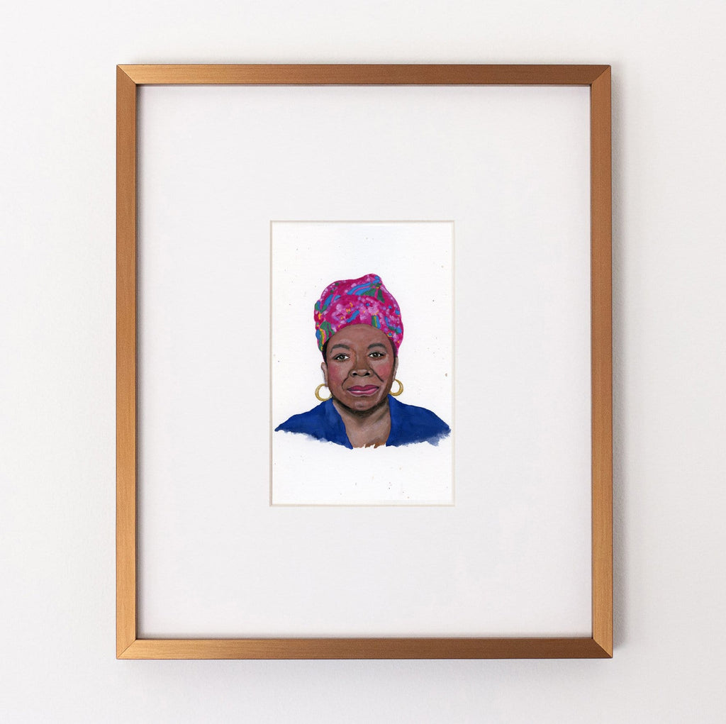 Maya Angelou portrait in gouache by Liz Langley framed in antique gold frame