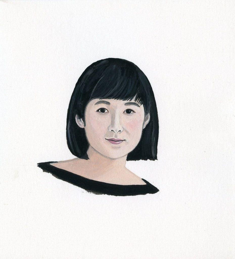 Maya Lin portrait in gouache by Liz Langley