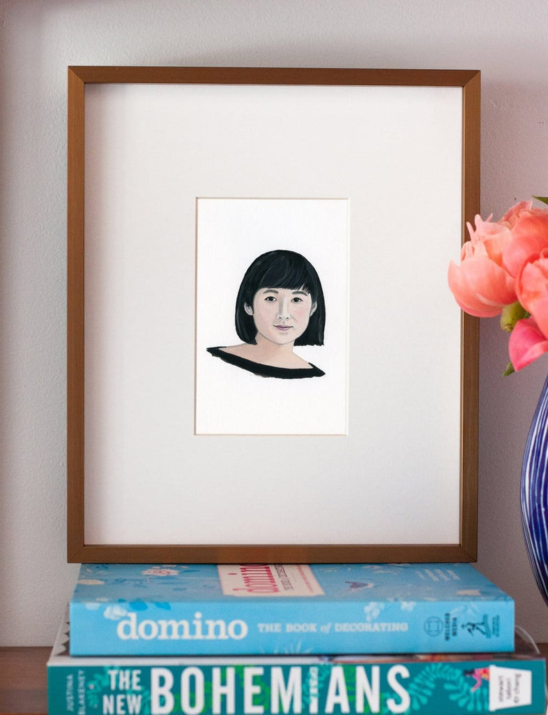 Maya Lin portrait in gouache by Liz Langley framed in antique gold frame