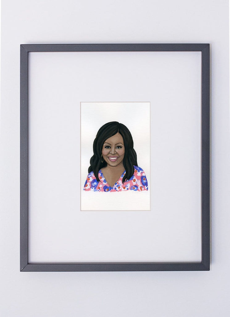 Michelle Obama portrait in gouache by Liz Langley framed in black frame