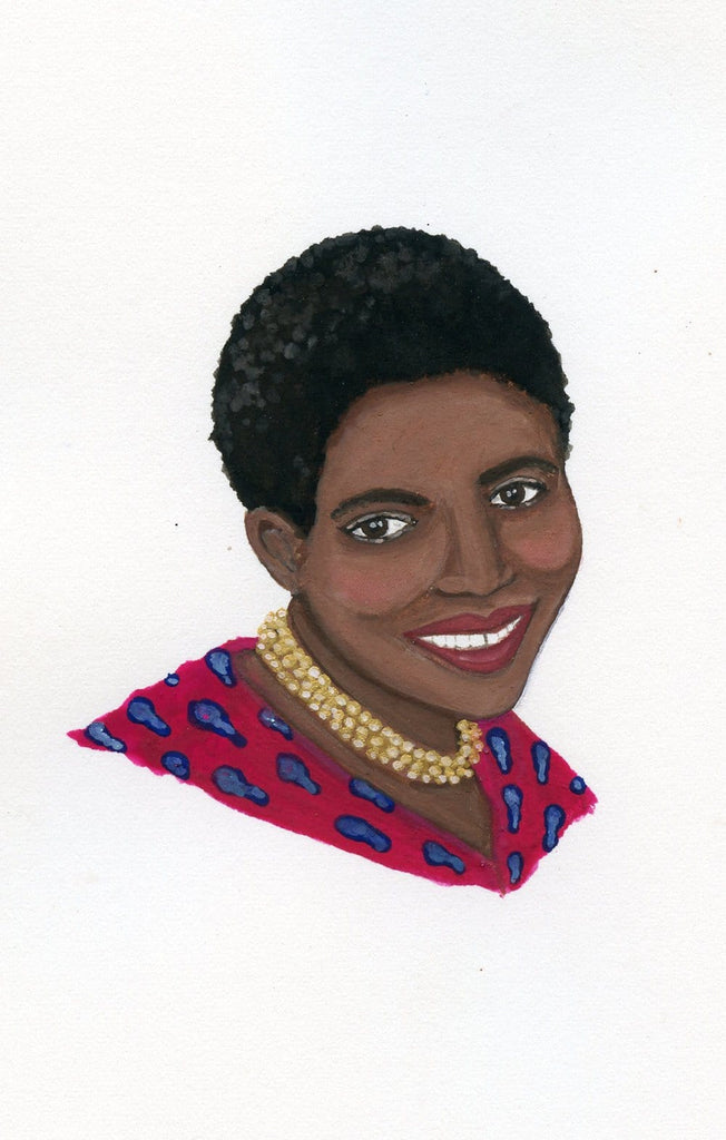 Miriam Makeba portrait in gouache by Liz Langley