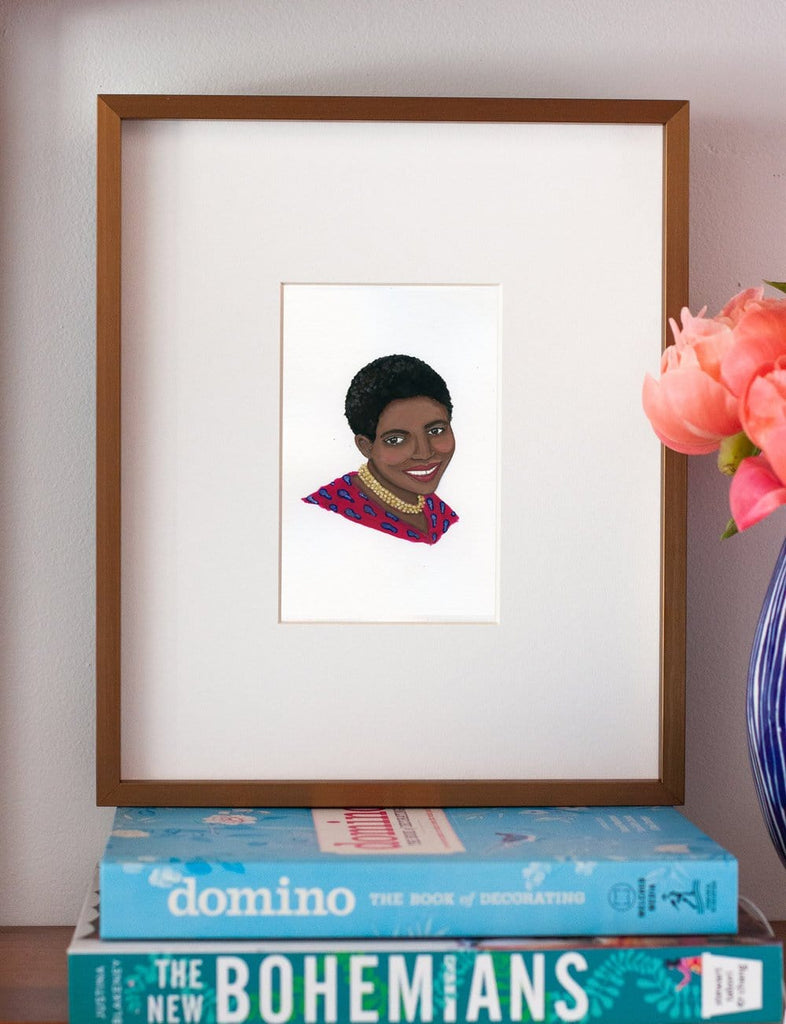 Miriam Makeba portrait in gouache by Liz Langley framed in antique gold frame