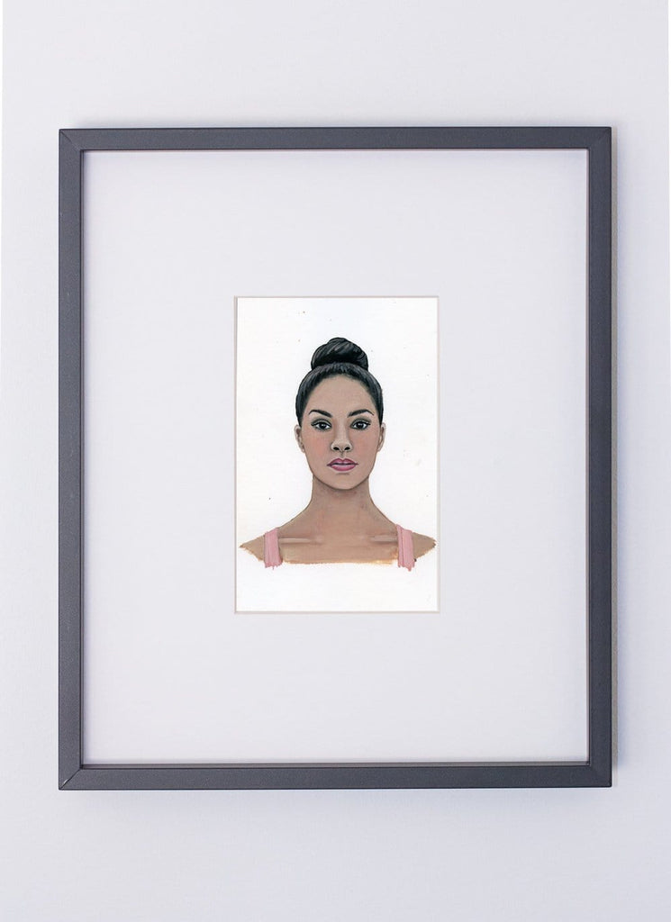 Misty Copeland portrait in gouache by Liz Langley framed in black frame