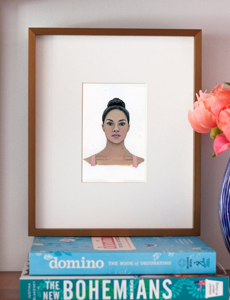 Misty Copeland portrait in gouache by Liz Langley framed in antique gold frame