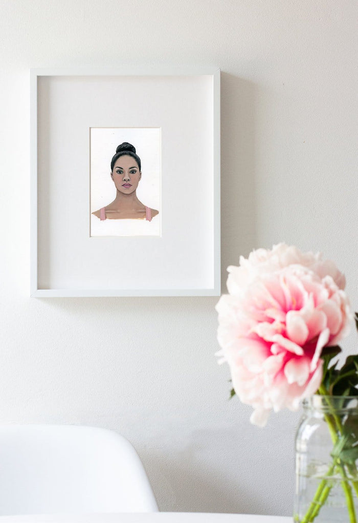 Misty Copeland portrait in gouache by Liz Langley framed in white frame