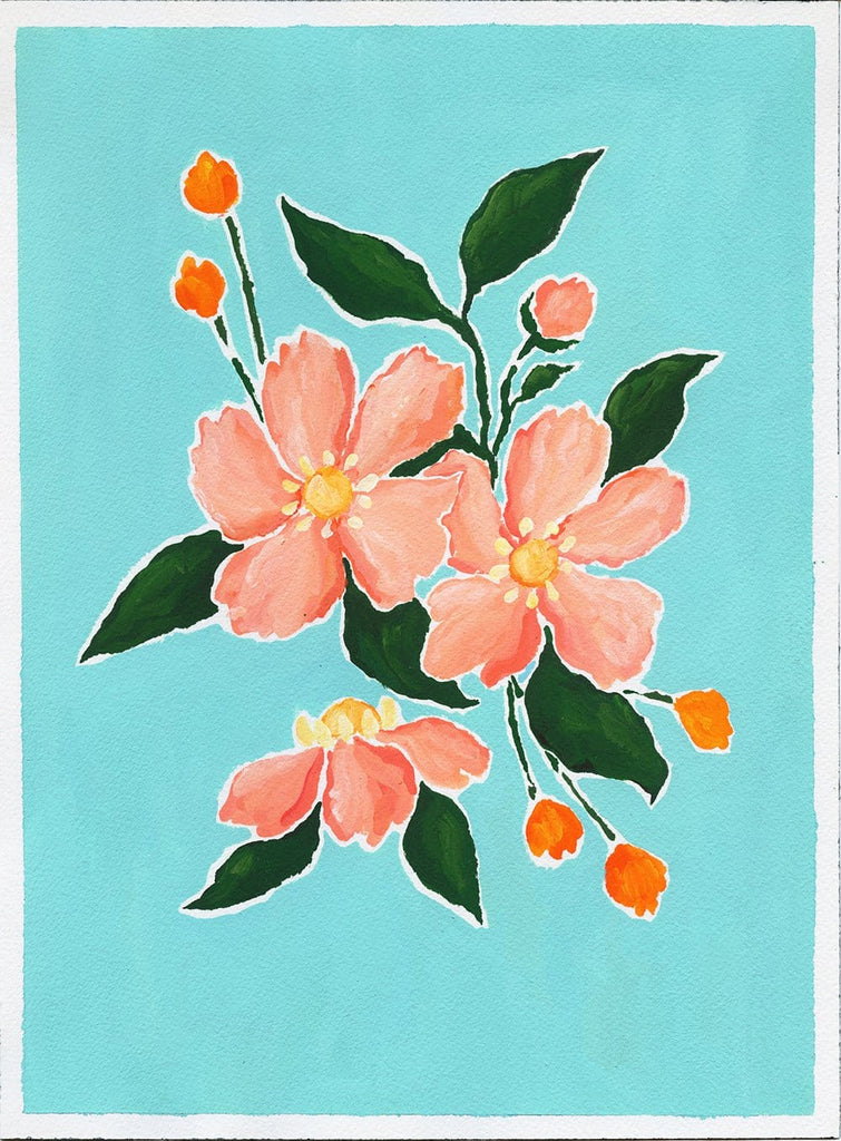 9x12 acrylic painting on paper of a bouquet of pink anemones with deep green leaves and two sprays of orange buds