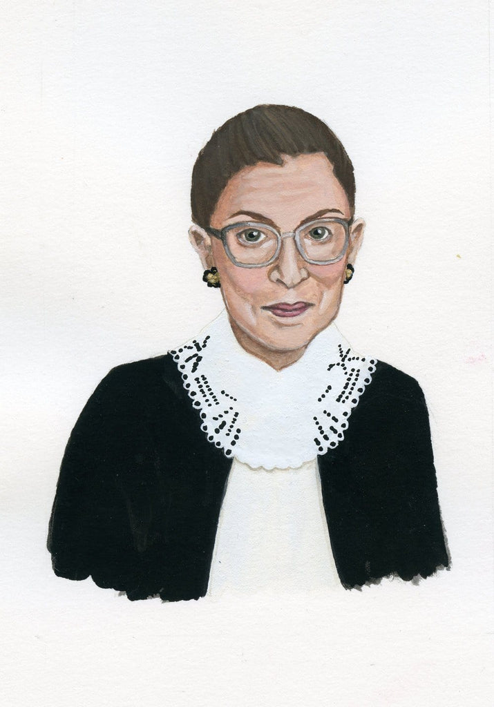 Ruth Bader Ginsberg portrait in gouache by Liz Langley