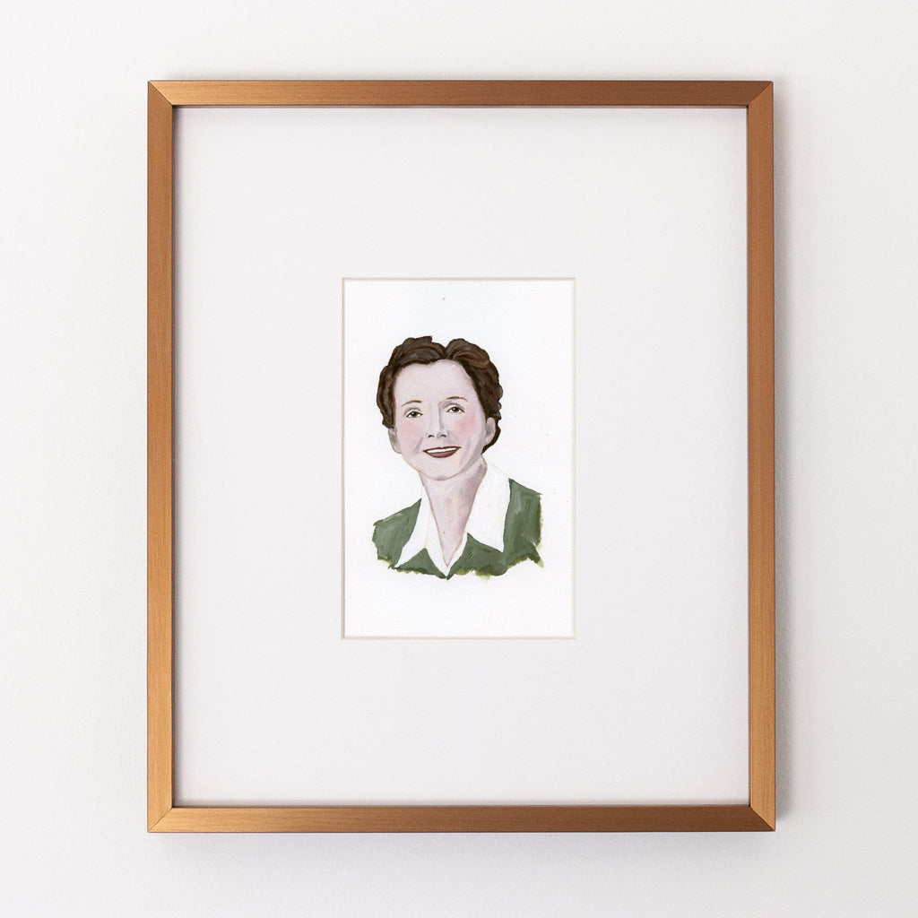 Rachel Carson portrait in gouache by Liz Langley framed in antique gold frame
