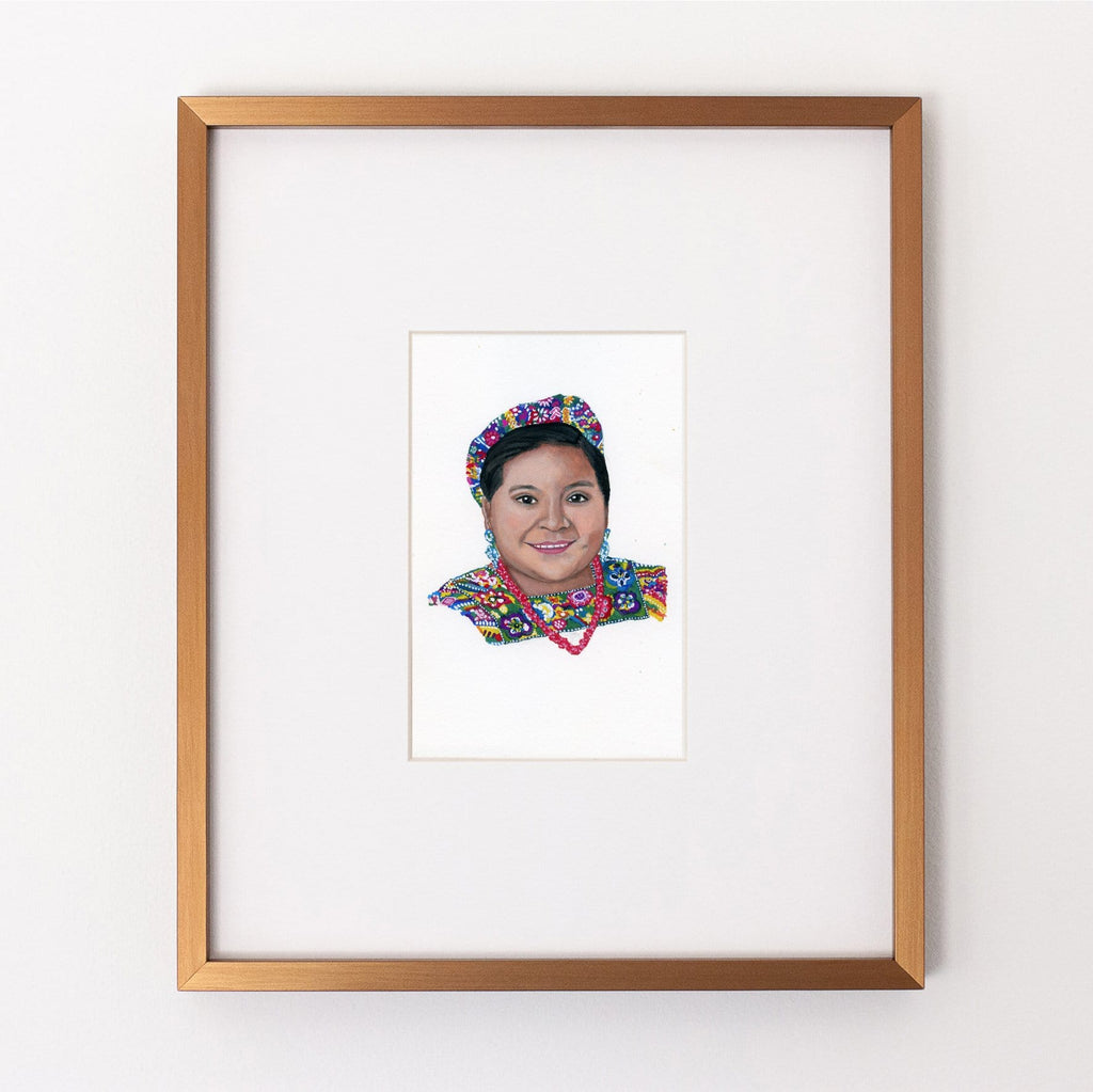 Rigoberta Menchú portrait in gouache by Liz Langley framed in antique gold frame