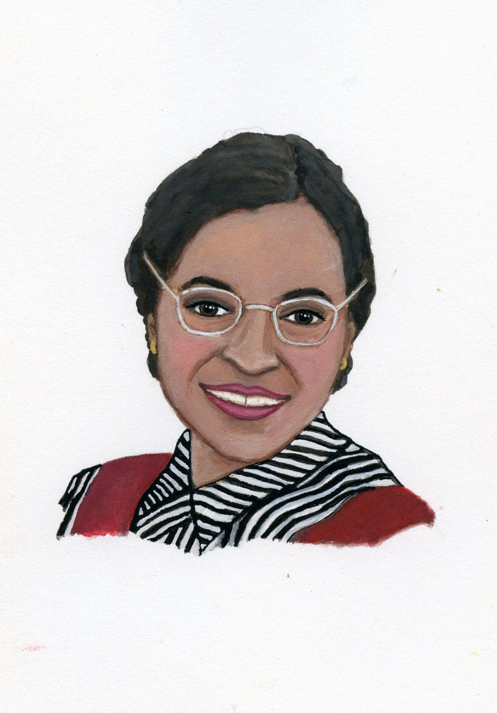 Rosa Parks portrait in gouache by Liz Langley