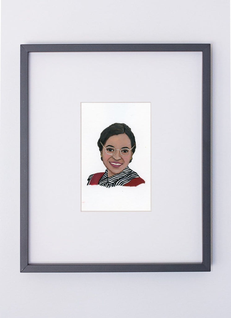 Rosa Parks portrait in gouache by Liz Langley framed in black frame