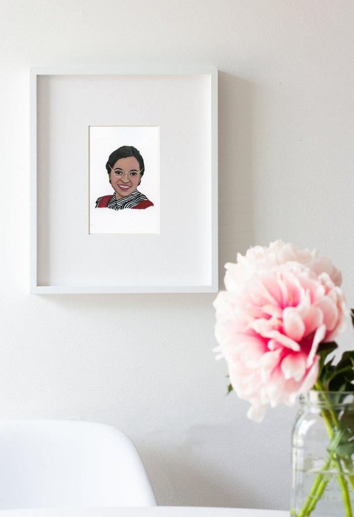 Rosa Parks portrait in gouache by Liz Langley framed in whiteframe