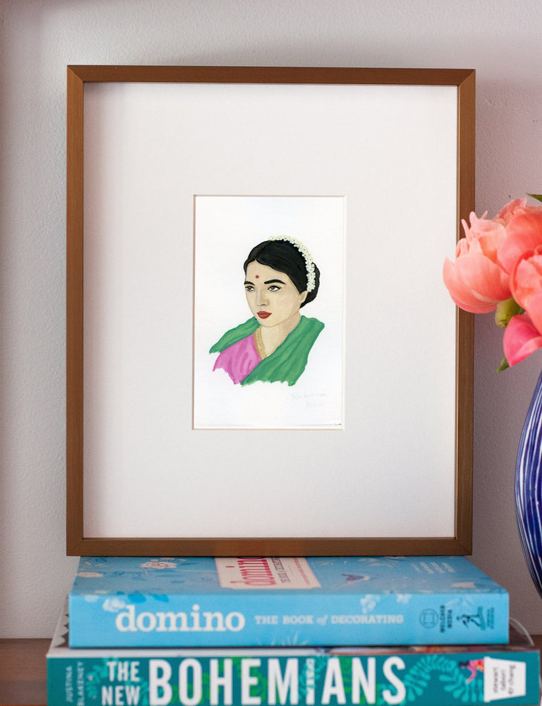 Rukmini Devi portrait in gouache by Liz Langley framed in antique gold frame
