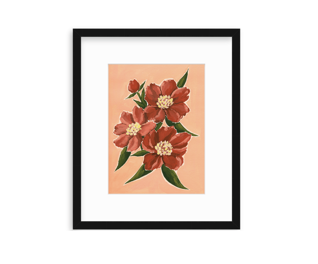 9x12 original acrylic gouache painting of a bunch of vibrant deep red peonies with green leaves on a light salmon pink background, shown framed in a slim black frame by Framebridge