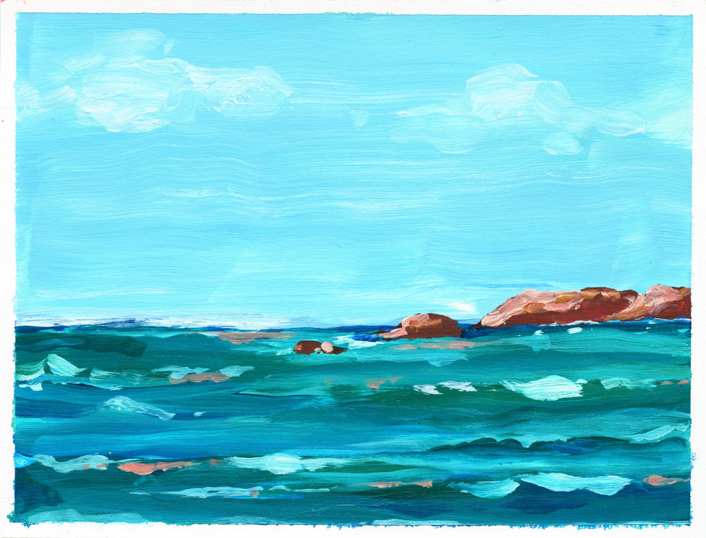 6x8 inch acrylic seascape painting on paper captures the daytime sky and sea views at Punta Mita in Mexico. The sky is bright blue with a few wisps of clouds, and the sea is deep aqua, turquoise and blue, with coral highlights on the water. A few rocky outcroppings dot the ocean waves.