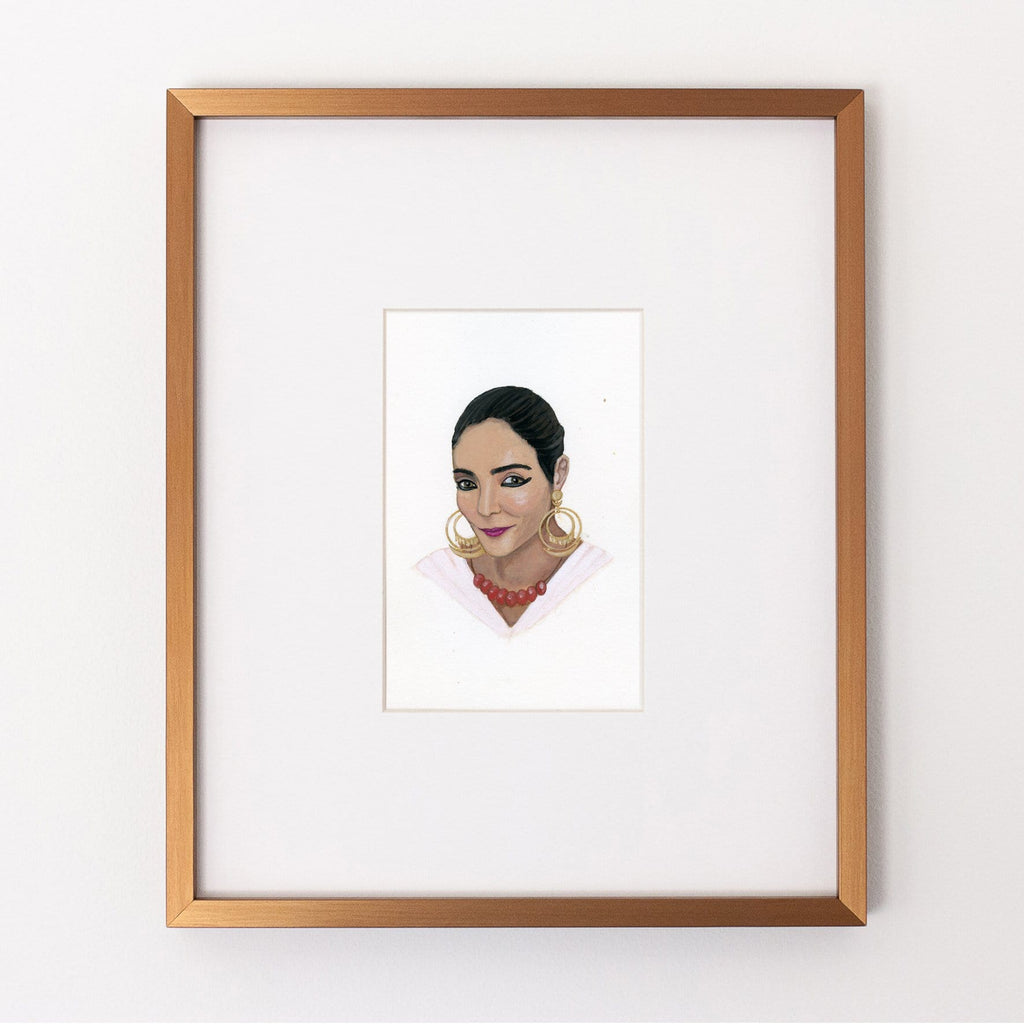 Shirin Neshat portrait in gouache by Liz Langley framed in antique gold frame