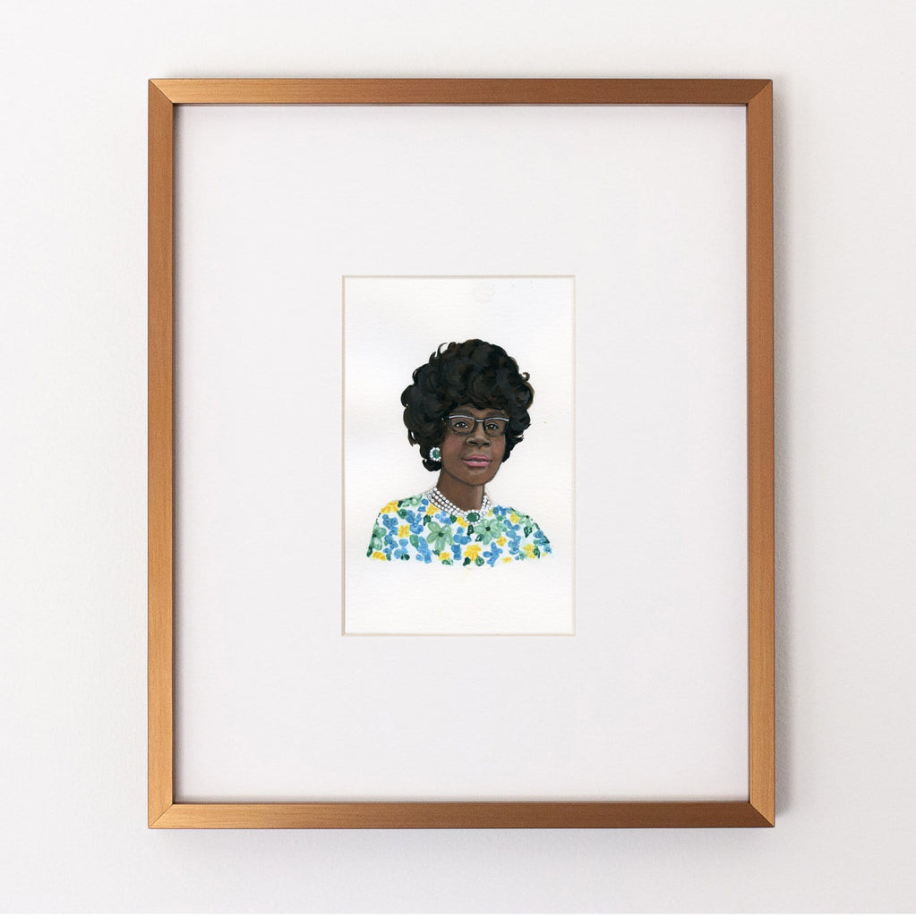 Shirley Chisholm portrait in gouache by Liz Langley framed in antique gold frame