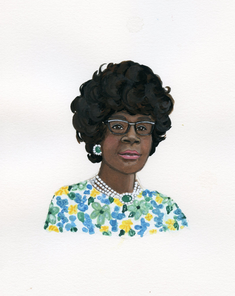 Shirley Chisholm portrait in gouache by Liz Langley