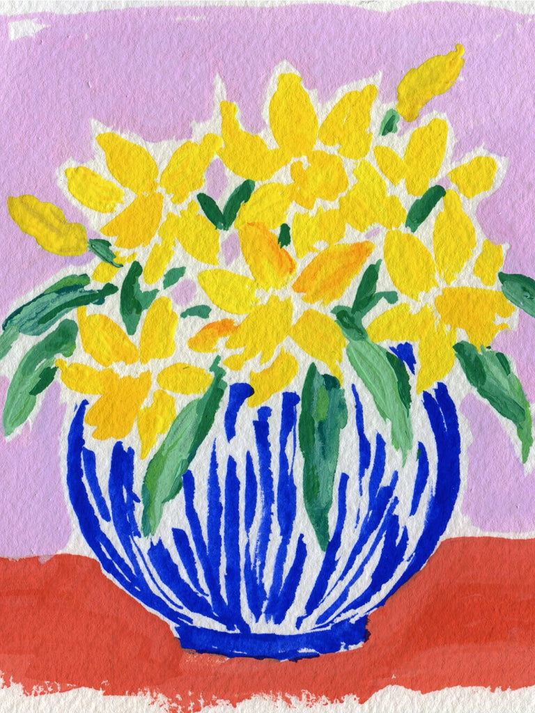 4.25x4.5 inch painting of daffodils in a blue and white striped vase on a red surface with a lilac-colored ground by Liz Langley.