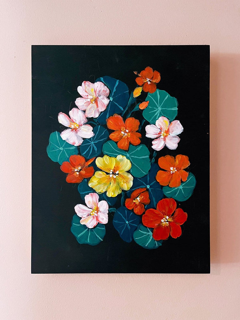 11x14  inch acrylic painting of orange, pink, and yellow nasturtiums  on a velvety black background by Liz Langley. This image is cropped to fit a 4 to 5 aspect ratio.