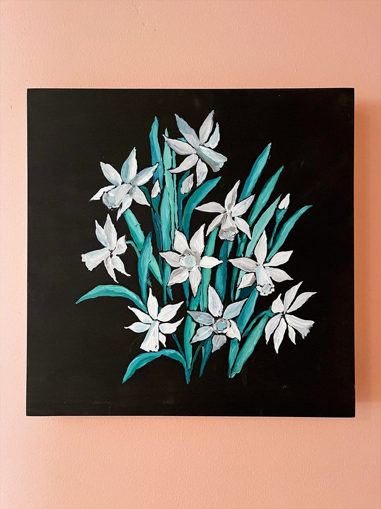 12x12  inch oil painting of white narcissus  on a velvety black background by Liz Langley.