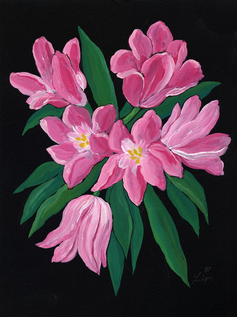 9x12 inch acrylic painting of bright pink tulips with vibrant green leaves on black paper by Liz Langley.