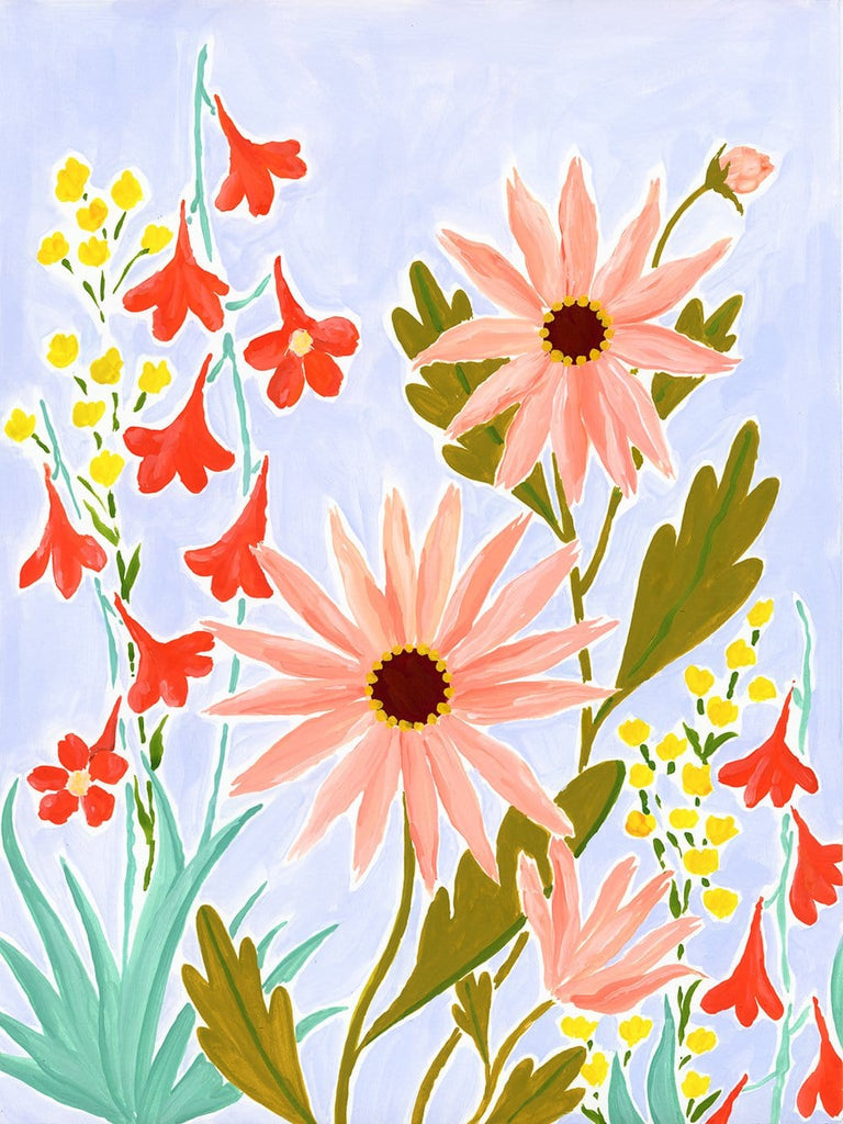A wild tangle of coral pink daisy like flowers with olive leaves are mixed in with tall yellow blooms and fiery red larkspur with aqua leaves. They climb up the lavender background of this cheerful 9x12 painting on paper.
