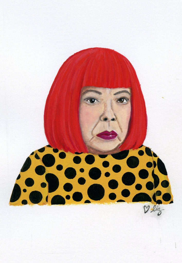 Yayoi Kusama portrait in gouache by Liz Langley