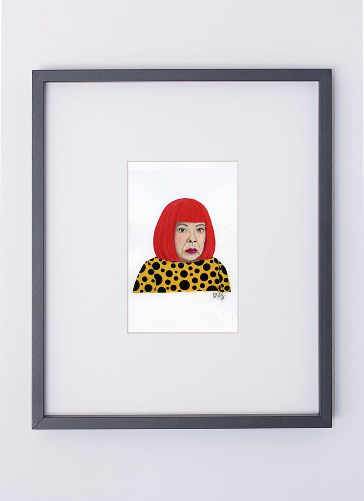 Yayoi Kusama portrait in gouache by Liz Langley framed in black frame
