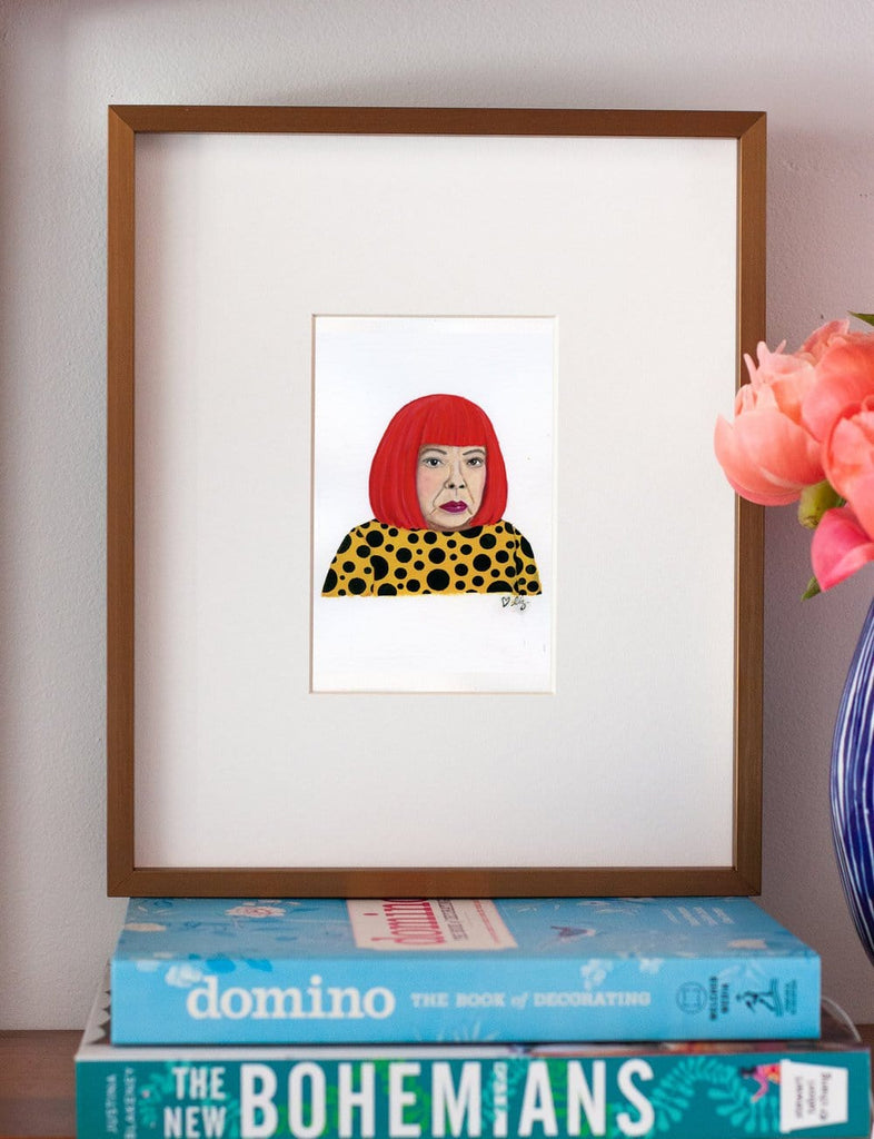 Yayoi Kusama portrait in gouache by Liz Langley framed in antique gold frame