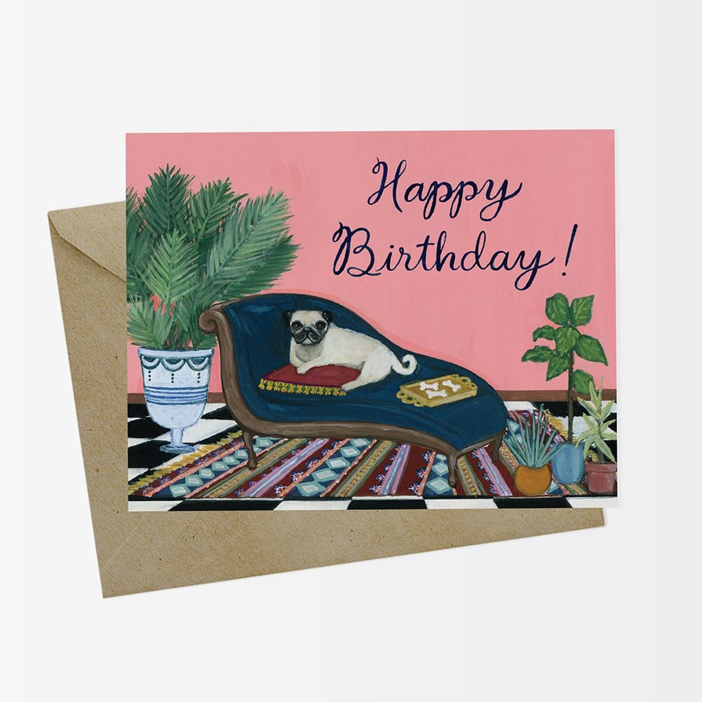 Odalisque Pug Happy Birthday Card