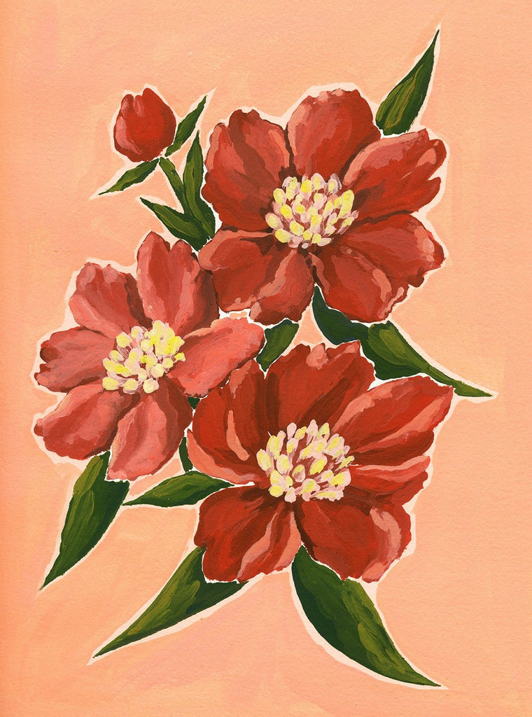 9x12 original acrylic gouache painting of a bunch of vibrant deep red peonies with green leaves on a light salmon pink background.