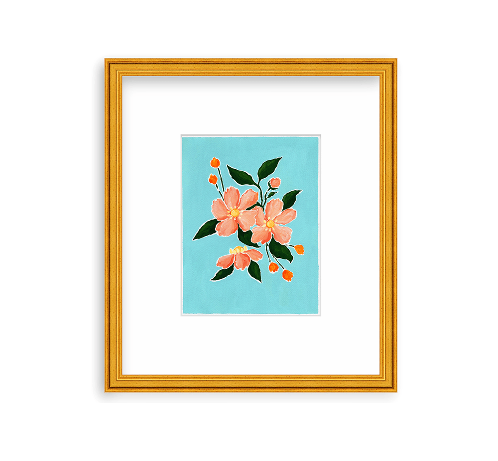 9x12 acrylic painting on paper of a bouquet of pink anemones with deep green leaves and two sprays of orange buds framed in a gold frame by framebridge